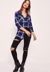Missguided Brushed Checked Shirt Blue Navy