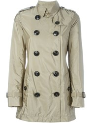 Burberry Brit Double Breasted Raincoat Nude And Neutrals