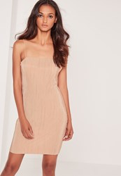 Missguided Strappy Pleated Bodycon Dress Nude Beige
