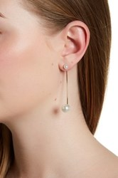 14Th And Union Linear Glass Pearl Earrings Metallic