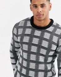 Only And Sons Grid Check Crew Neck Knitted Jumper In Black