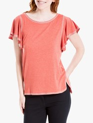 Max Studio Embroidered Jersey Top Heather Rust