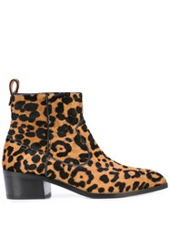 Veronica Beard Leopard Ankle Boots Brown
