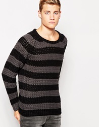 Cheap Monday Crew Knit Jumper Zoom Block Stripe Charcoal