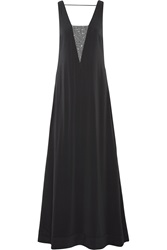 Brunello Cucinelli Bead Embellished Silk Blend Gown Gray