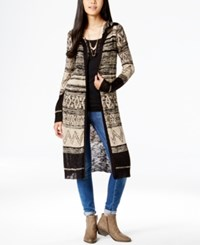 It's Our Time Juniors' Pattern Hoodie Duster Sweater