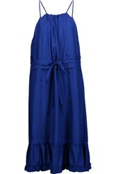 Raoul Prairie Ruffled Silk Satin Twill Dress Blue