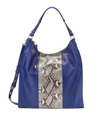 Badgley Mischka Taryn Two Tone Leather Hobo Bag Sapphire Natural