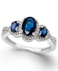 Macy's Sapphire 1 1 3 Ct. T.W. And Diamond 1 4 Ct. T.W. Three Stone Ring In 14K White Gold