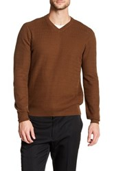Perry Ellis Textured Knit Pullover Sweater Brown