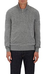 Brunello Cucinelli Men's Virgin Wool Blend Half Zip Sweater Grey