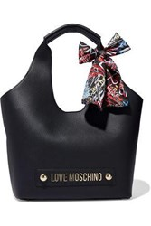 Love Moschino Woman Embellished Textured Leather Tote Black