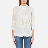Maison Scotch Women's 3 4 Sleeve Woven Top With Embroidered Star Allover White