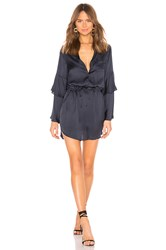Chaser Tiered Bell Sleeve Button Down Hi Lo Shirttail Dress Navy