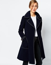 Asos Coat With Top Stitch Detail Navy