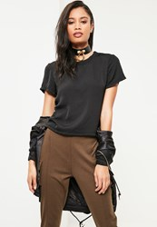 Missguided Black Crushed Satin T Shirt