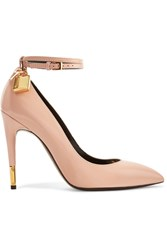 Tom Ford Padlock Glossed Leather Pumps Beige