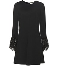 Saint Laurent Flounce Sleeve Mini Dress Black