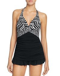 Gottex Profile By Marble Halter One Piece Swim Dress Black White
