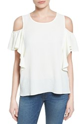 Bobeau Women's Cold Shoulder Ruffle Sleeve Top Ivory