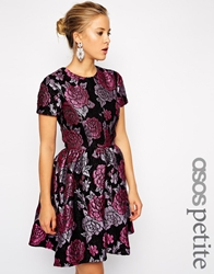 Asos Petite Structured Dolly Skater Dress In Floral Jacquard Multi