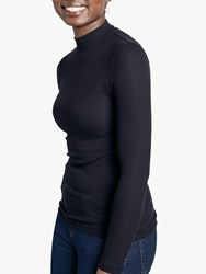Hush Ribbed Mock Neck Top Black