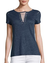 Generation Love Hugo Lace Up Linen Tee Navy