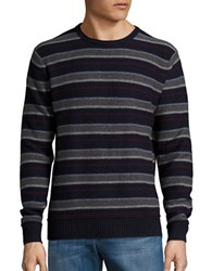 Black Brown Wool Blend Striped Crewneck Sweater Dark Navy