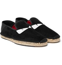 Fendi Collapsible Heel Leather Trimmed Suede Espadrilles Black