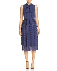 Michael Michael Kors Pin Dot Tie Neck Shirt Dress True Navy