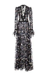 Monique Lhuillier Floral Embroidered Long Sleeve Gown