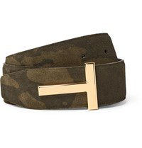 Tom Ford 4Cm Reversible Camouflage Print Suede And Black Leather Belt Green