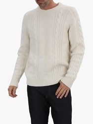Jaeger Cable Knit Merino Wool Jumper Ivory