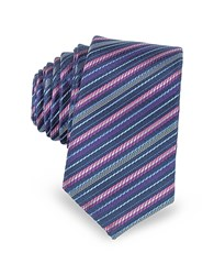Laura Biagiotti Navy Blue And Pink Diagonal Stripe Woven Silk Extra Narrow Tie