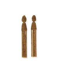 Oscar De La Renta Metal Chain Tassel Clip Earrings