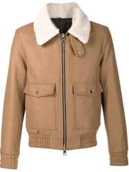 Ami Alexandre Mattiussi Shearling Collar Jacket Brown