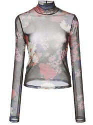 Staud Mick Floral Print Sheer Blouse 60