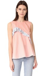 Anna October Sleeveless Polka Dot Top Pink White Dark Blue