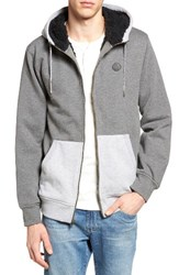 Volcom Men's Fleece Lined Zip Hoodie Dark Grey