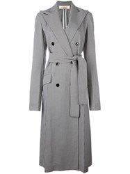 Nina Ricci Long Double Breasted Robe Coat Black