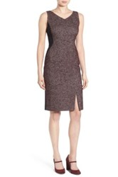 Classiques Entier V Neck Tweed And Solid Knit Sheath Dress Purple