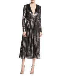 Sally Lapointe Long Sleeve Sequined Tie Waist Dress Black Silver