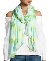 Neiman Marcus Scattered Pineapple Print Scarf Turquoise