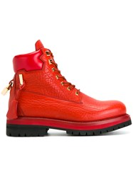 Buscemi Lock Detail Ankle Boots Red