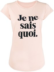 Zadig And Voltaire Cap Sleeve Slogan Print T Shirt Pink
