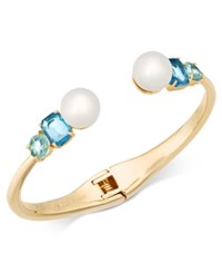 Kate Spade New York Gold Tone Imitation Pearl And Crystal Hinged Bangle Bracelet Blue Multi