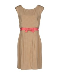Via Delle Perle Vdp Collection Short Dresses Sand