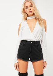 Missguided White Choker Neck Cold Shoulder Bodysuit