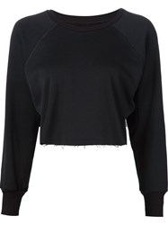 Unravel Cropped Raglan Sleeve Sweatshirt Black