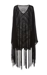 Talitha Diamond Fringe Knit Poncho Black